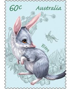 Australian Bush Babies - Bilby Stamp and Coin Cover. The Perth Mint Australian Bush, Australian Animals, Easter Bilby, Australian Painting, Coin Design, Postage Stamp Art, Cute Animal Drawings, Vintage Stamps, Fauna