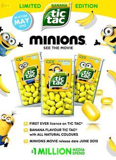 Tic Tac lance un nouveau parfum banane version Minions ! Tic Tac Minions, Minion Movie, Chocolate Pancakes, Gastro, Lol Dolls, Food Items, Oreo, Jelly, Banana