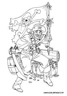 coloriage un pirate garde son tresor