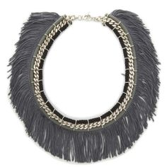Fringe Necklace - Grey - Jewellery