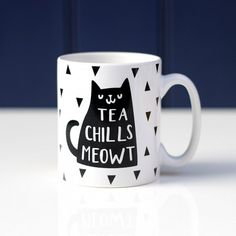 Coffee/ Tea Chills Meowt Cat Mug by Jack Spratt, the perfect gift for Explore more unique gifts in our curated marketplace. Tea Puns, Coffee Puns, Tea Quotes Funny, Tea Tag, Halloween Mug, Cat Mug, Cards For Friends, Ceramic Mugs, Mug Designs