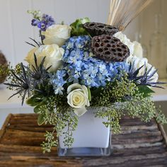 Send the Vineyard Blues bouquet of flowers from Coleen's Flower Shop in Dorchester, MA. Local fresh flower delivery directly from the florist and never in a box! Arrangements D'hortensia, Blue Flower Arrangements, Dried Flowers, Silk Flowers, Blue Flowers, Blue Hydrangea, Flowers Garden, Blue Centerpieces, Flower Box Centerpiece