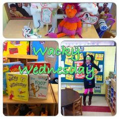 Wacky Wednesday in the Preschool Classroom. Dr. Seuss preschool idea. Dr. Seuss Fun. There's a Wocket in my Pocket. Dr.seuss dramatic play. Pancakes for lunch. Link to ideas.