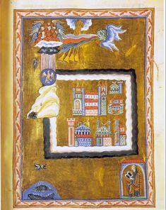 Ildegarda di Bingen (Bermersheim vor der Höhe, 1098 – Bingen am Rhein, 1179). Lotta tra il bene e il male – miniatura dal Liber Divinorum operum, Ms. 1942 ,  Lucca, Biblioteca Statale | #Middleage