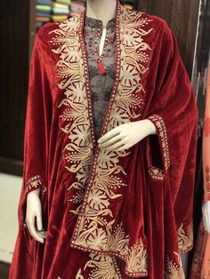 Red Velvet Cape, Royal Kashmir Orni, Shawl, Red Velvet Embroidered Stole, Kashmir Zari Work Shawl in the Scarves & Wraps category was listed for on 20 Jul at by in India Shrug For Dresses, Casual Dresses, Fashion Dresses, Velvet Shawl, Mode Abaya, Ethnic Dress, Embroidery Suits, Gowns Of Elegance, Traditional Dresses
