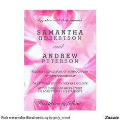 Pink watercolor floral wedding 5x7 paper invitation card