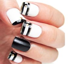 Colour blocking is a big trend with Gel Nails too. Amazing black and white pattern and stripes. Mirror Mirror Salon and Spa Kelowna BC  #mm #gelnails #nailart #springnails #biosculpture