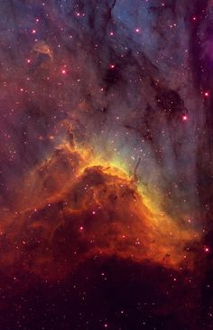 The Pelican Nebula (IC 5070) is located in the constellation of Cygnus, the Swan. Its pillars are being sculpted by the intense ultraviolet radiation from massive stars which have recently formed within the nebula. #astronomy #space #celestial