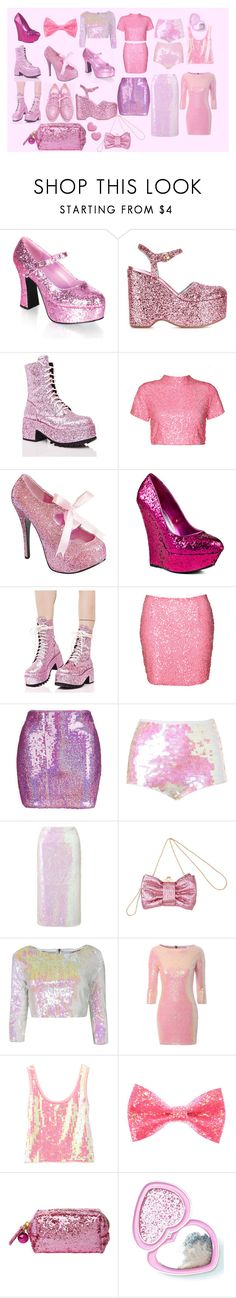 """sugar glitter"" by junodarling ❤ liked on Polyvore featuring Chiara Ferragni, Current Mood, Boohoo, Bebe, Topshop, Simone Rocha, Miss Selfridge, Chris Benz, Too Faced Cosmetics and Laser Kitten"