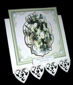 Bridal flower card with shaped stackers on Craftsuprint designed by Angela Wake -
