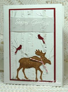 Stamping with Klass: Moseying Merry Monday Moose Homemade Christmas Cards, Stampin Up Christmas, Homemade Cards, Making Greeting Cards, Xmas Cards, Holiday Cards, Thanksgiving Cards, Christmas Moose, Christmas 2019
