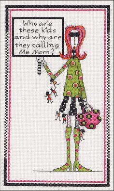 Dolly Mama's Who Are These Kids Counted Cross Stitch Kit-6 X10 14 Count