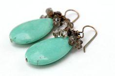 Green Turquoise Magnesite smoky quartz by JillianDesigns4u on Etsy, $21.00