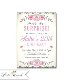 Surprise 25th Birthday Invitations For Her Party Free Invitation Templates