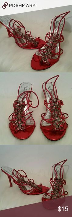 Red Jeweled Heels! Gorgeous jeweled heels from Sweet Seventeen brand. Would be the perfect footwear for the upcoming prom season, date night, or going out with friends. 4 inch heel. Gently used. Only worn once. sweet seventeen Shoes Heels