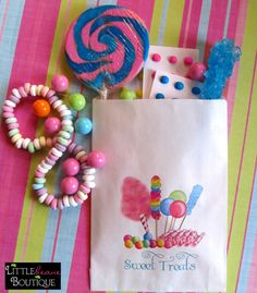 Personalized Candy Bags, Favor bags, Candy Buffet, Birthday party, Sweets, Treats, Choose any Design in my Shop, Set of 24. $19.75, via Etsy.