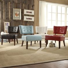 Shop for TRIBECCA HOME Charlotte Faux Leather Armless Accent Chair. Get free…