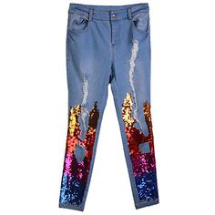 Rainbow Sequin Ripped Slim Jeans