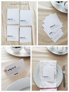 PASSOVER PRINTABLES - FOUR QUESTIONS PLACE CARDS