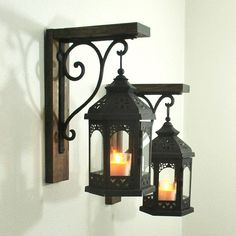 Set of 2 Large Hanging Black Lanterns Rustic Farmhouse Wood Rustic Chic, Rustic Decor, Farmhouse Decor, Rustic Light Fixtures, Rustic Lighting, Home Interior Design, Interior Decorating, Diy Home Decor, Room Decor