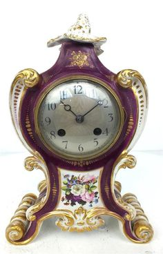 Very Rare 19thc Porcelain Red Serves Mantel Clock - Original Antique Clocks