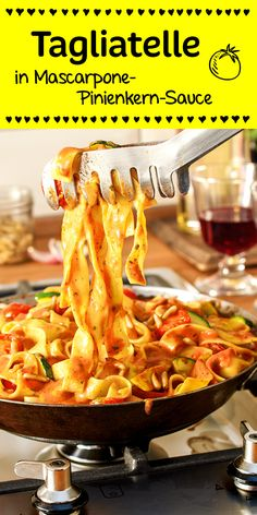 Tagliatelle in Mascarpone-Pinienkern-Sauce - Nudeln & Pasta - Pasta Veggie Recipes, Pasta Recipes, Vegetarian Recipes, Dinner Recipes, Cooking Recipes, Healthy Recipes, Paleo Pasta, Food N, Food And Drink