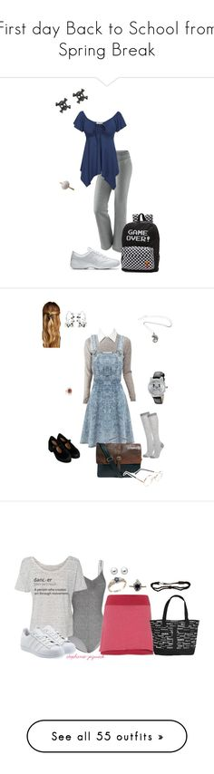 """""""First day Back to School from Spring Break"""" by thesassystewart on Polyvore featuring NIKE, Vans, Alice + Olivia, Topshop, John Lewis, Betsey Johnson, Natasha, ASOS, Sunday Somewhere and Classique"""