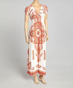 Jessica Taylor Ivory Paisley V-Neck Maxi Dress | zulily