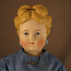 """24"""" Antique German ABG Parian Bisque Lady Doll w/ Head Band & Pierced Ears"""
