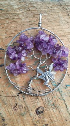 Amethyst Tree of Life Pendant with Fairy