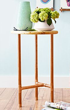 Copper warms the look of this table. Leave the pine top bare, or seal it with paint or clear finish.