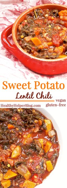 Sweet Potato Lentil Chili [vegan + gluten-free] • Healthy Helper #vegan #glutenfree #healthy #chili #fall #winter #slowcooker #vegetarian #plantbased #cleaneating #oilfree #lowfat #paleo #grainfree #recipe #soup #dinner