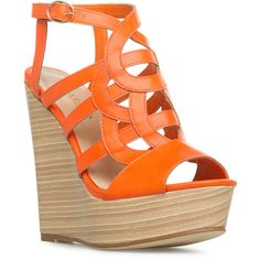 ShoeDazzle Wedge Paisley Womens Orange ❤ liked on Polyvore featuring shoes, sandals, heels, wedges, orange, orange wedge shoes, wood platform sandals, wedge heel sandals, wooden platform sandals and orange shoes