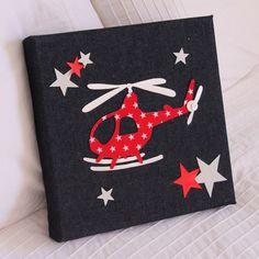 Tableau Hélicoptère Rouge / Denim