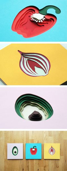 I like the way this design uses layers to create dimension and depth, it makes it look like these objects have been sliced in half.:
