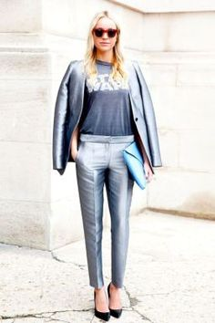 5 Style Rules to Live By When Wearing Metallic. A how to guide on how to wear the metallic fashion trend without looking tacky or too shiny! www.svadore.com  Tip #2 The metallic pant suit