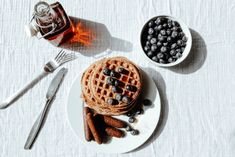 Lighter: Whole-Grain Waffles with Blueberries & 'Sausage'