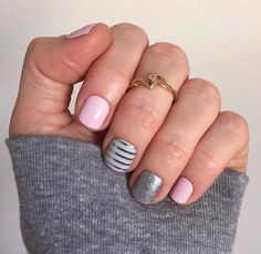 Pink & Silver Jamberry nails