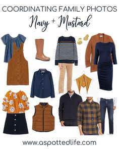 Need inspiration for a color-coordinated family photo shoot? One option is Navy + Mustard. Each of these pieces are linked for you.
