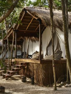 Habitas Tulum boutique hotel offers beachfront and hidden jungle rooms Jungle House, Jungle Room, Surf Shack, Beach Shack, Tulum Beach Hotels, Casa Hotel, Bamboo House, Tropical Houses, Hotel Offers