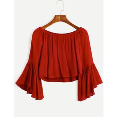 Burgundy Boat Neck Bell Sleeve High Low Blouse