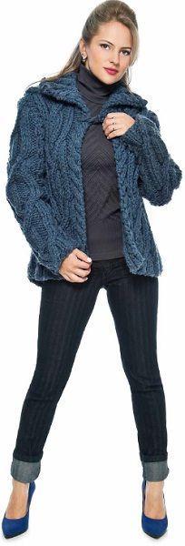 2908f898b8 Casaco Trançado Azul com Fio Big Vestido De Trico