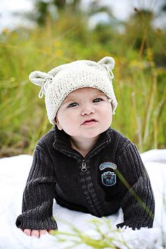 """""""Flour Sack"""" - Amanda Keeys  Pattern published in: Baby Beanies: Happy Hats to Knit for Little Heads"""