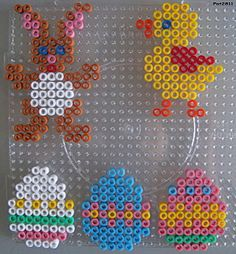 Easter ornaments hama perler beads by Les loisirs de Pat Hama Beads Design, Diy Perler Beads, Hama Beads Patterns, Perler Bead Art, Beading Patterns, Perler Bead Disney, Art Perle, Motifs Perler, Peler Beads