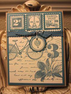 Travel Post Note Card Card Stock: Crumb Cake, Island Indigo, Very Vanilla Ink: Island Indigo, Soft Suede Stamp Set: Travel Post, Collage Curios (New-Spring Catalog) Punch: 1 square, Postage punch, 1 3/4 scallop circle, 1/8 circle Accent: Ruffled Island Indigo Ribbon, Bakers Twine Island Indigo