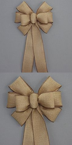 Rustic Fall Burlap Wreath Bow - available in 2 sizes ~ Wedding Wreaths ~ It's Wedding Time!Wedding bows for pews and church aisle decorations. Our Christmas bows can be used on holiday trees and Christmas wreaths, and more. Diy Bow, Diy Ribbon, Ribbon Bows, Burlap Crafts, Burlap Ribbon, Diy And Crafts, Diy Wreath, Burlap Wreath, Wreath Bows