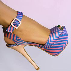 Qupid Geometric Stripe High Heels Turquoise and Pink Stiletto Shoes, Shoes Heels, Striped High Heels, Creative Shoes, Expensive Shoes, Cute Heels, Pretty Heels, Beautiful High Heels, Pink Heels