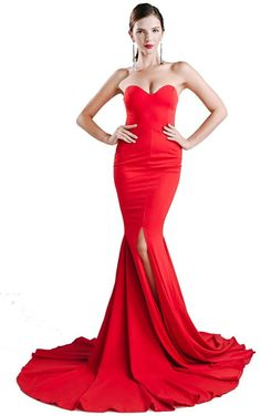 Miss ord Strapless Asymmetric Slit Front Wedding Evening Party Maxi Dress Red Wedding Gowns, Backless Wedding, Dress Wedding, Backless Maxi Dresses, Maxi Dress With Slit, Event Dresses, Prom Dresses, Dress Prom, Robes Dos Nu Maxi