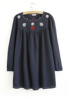 Navy Plain Embroidery Puff Sleeve Flax Blend Dress