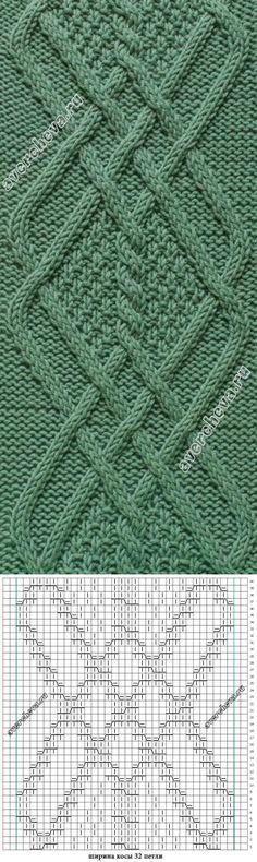 коса шириной 32 петли | каталог вязаных спицами узоров